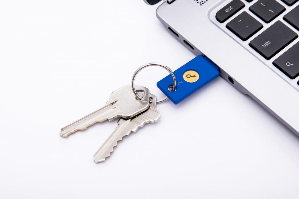 security key yubikey in a computer